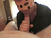 Masked Blowjob sucks my dick and swallows the cum release