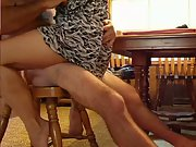 American wife bent over table and fucked while dressed pulled up