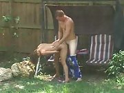 Voyeur spying neighbours having sex in the garden