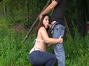 Married woman sucks a stranger near the forest