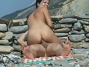 Hot brunette with nice juggs gets caught riding a thick cock in public
