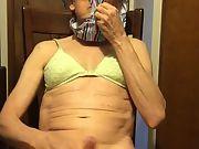 Exposed Faggot Pervert Slut Wears Green Padded Bra And Striped Panty On Head