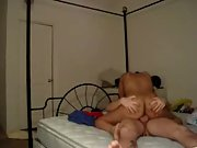 Noisy bed sex she is riding on top while I thrust away in pussy