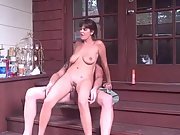 Big titted amateur brunette fucking on the porch