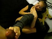 Blonde wifey Amber uses her incredible feet on her man's dick