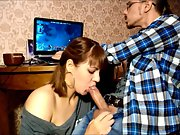Stunning brunette continues with a new blowjob session part II