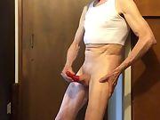 Exposed Faggot Pervert Slut Beats off Into Red Rubber