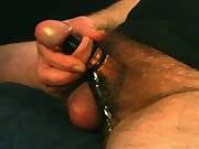 Steampunk cock masturbating with rubber rings