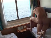 French couple screwing in cruise ship cabin while away on holiday