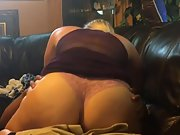 Blonde wife having interracial sex on home couch