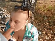 Lovely blonde loves blowjob outdoors part III