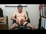 Black stockings jackoff with cumshot