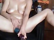 Sexy wife enjoying herself all oiled up