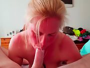 Music blowjob girl - 2nd video Big titter sucks cock till oral creampie