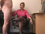 Hot mature secretary delivers an amazing handjob