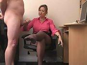 Hot mature secretary delivers an amazing handjob