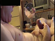 Cumming in own face and on my glasses masturbating to pornography