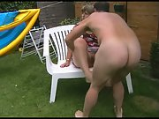 Chubby wife sex in back garden hoping the neighbours do see us