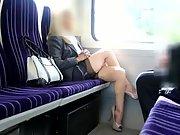 Voyeur filmed sexy mature woman in the train