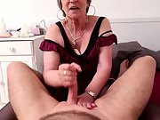 Sexy senior knows how to give a handjob