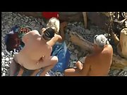 Mature nudist couple have some oral XXX fun before enjoying public sex