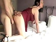 Hot milf with very sexy red lingerie