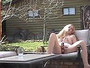 Slut masturbating on sun lounger with vibrator