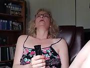 Using a big black vibrator to bring it on