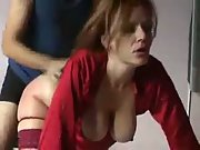 Busty red head amateur sex banging her doggy style