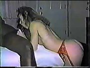 Interracial vintage sex tape with a stunning cuckold wife