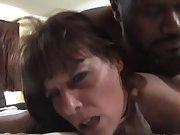 Slutty mature brunette gets her pussy slammed