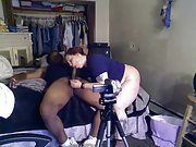 Amateur interracial couple having sex on the webcam