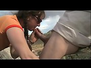 Outdoor blowjob shooting cum into her mouth to swallow