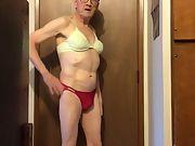 Exposed Faggot Pervert Slut in Lingerie With Cock Bulge