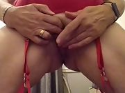 Horny bored wife, shaved pussy tease
